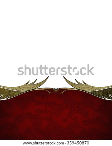 Red nameplate with gold pattern. Element for design. Template for design. copy space for ad brochure or announcement invitation, abstract background.