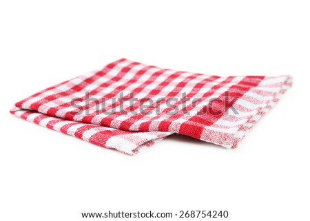 Red napkin isolated on white