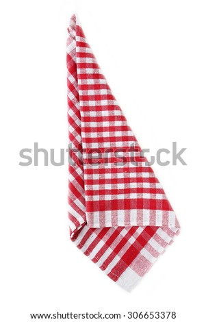 Red napkin isolated on white - stock photo