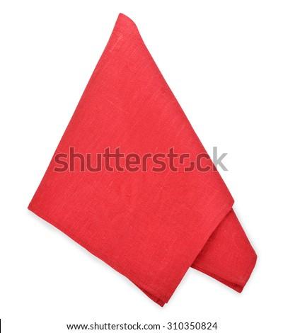 Red napkin isolated on white background - stock photo