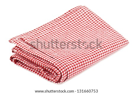 red napkin on white background
