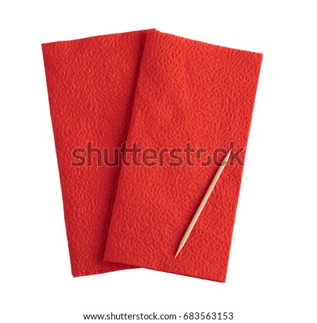 Red napkin on white background and toothpick, isolated