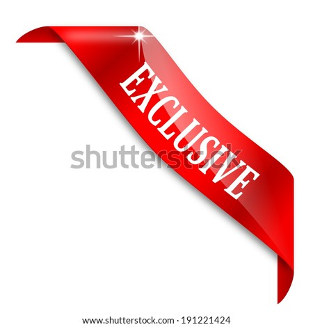 Red narrow corner ribbon with the word exclusive - illustration - stock photo