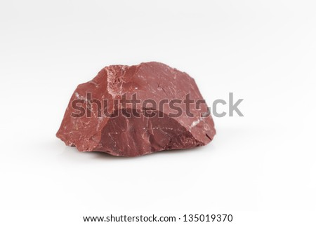 red natural stone in white background - stock photo