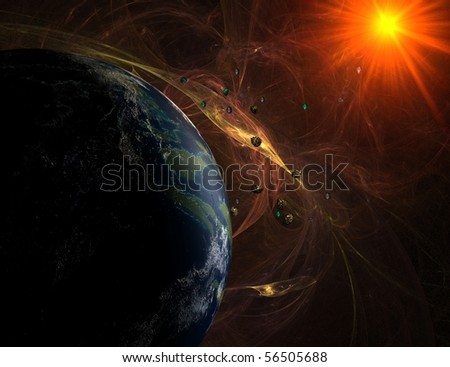 Red nebula with closeup view on planet and sun with asteroids - stock photo