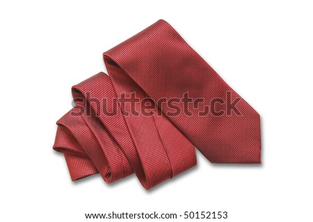 Red necktie isolated on white background with clipping path