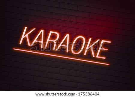 301 Moved Permanently #1: stock photo red neon sign with karaoke text on wall