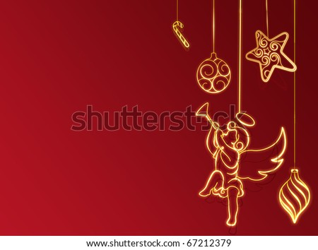 Red new year background with christmas balls and angel - stock photo