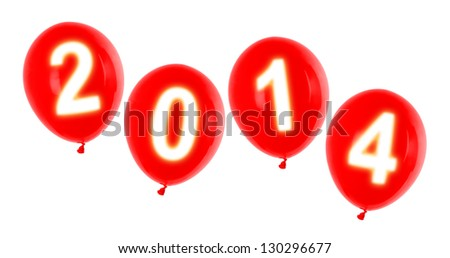 Red new year 2014 balloons