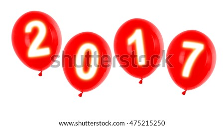 red new year 2017 balloons