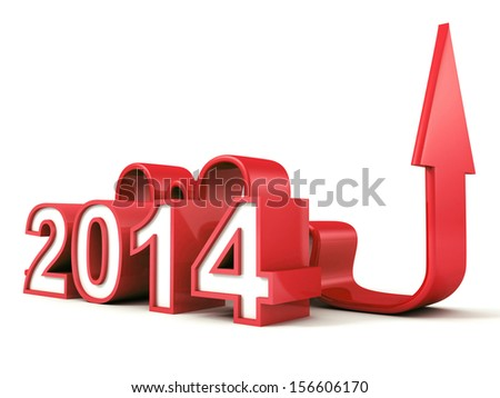 red 2014 new year numbers with growing concept arrow - stock photo