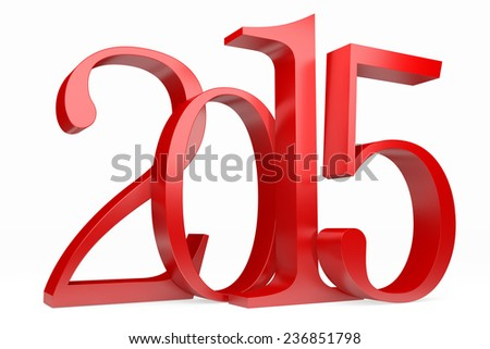 Red 2015 new year on a white background. 3d rendered image  - stock photo