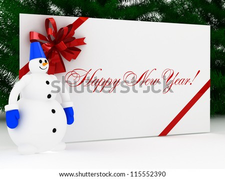 Red new-year postal, envelope with snowman and christmas tree - stock photo