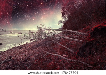 red night at sea. Elements of this image furnished by NASA  - stock photo