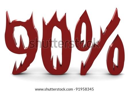 Red ninety percent - stock photo