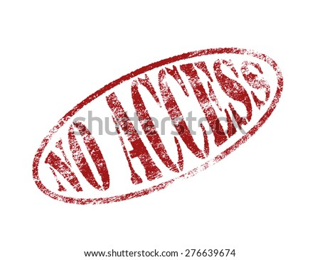 Red No access rubber stamp over white. - stock photo