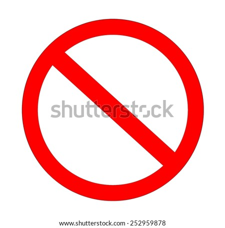 Red not allowed sign in white background - stock photo