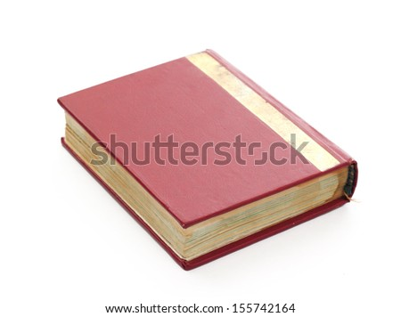 Red note book on white background.