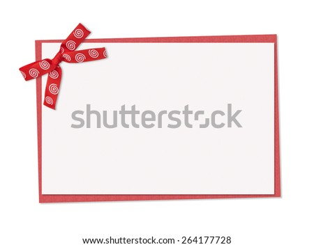 red note card, with red with spirals ribbon bow isolated on white background - stock photo