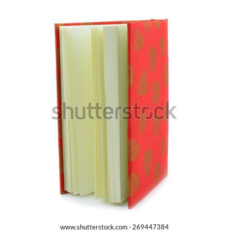 Red notebook isolated on white background. - stock photo