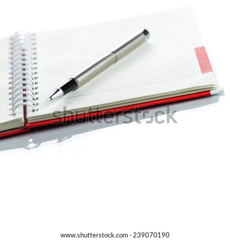 Red Notebook on white background