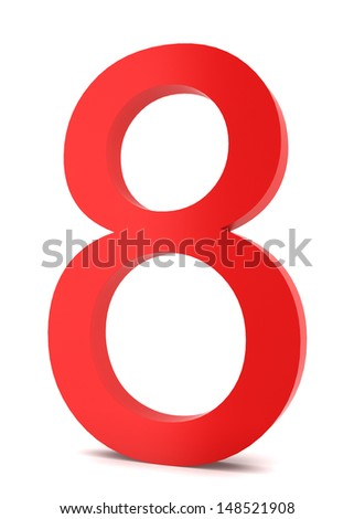 Red number. 3d illustration on white background