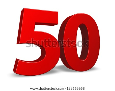 red number fifty on white background - 3d illustration - stock photo