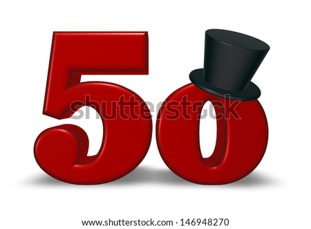 red number fifty with topper on white background - 3d illustration - stock photo