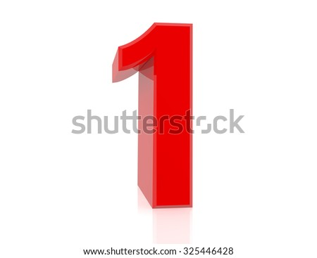 red number 1 on white background 3d rendering - stock photo