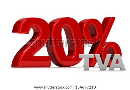 red number 20 percent TVA written in 3D, French VAT