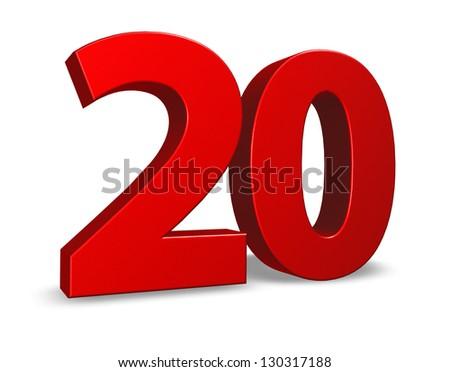 red number twenty on white background - 3d illustration - stock photo
