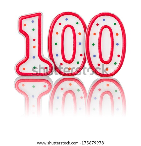 Red number 100 with reflection - stock photo