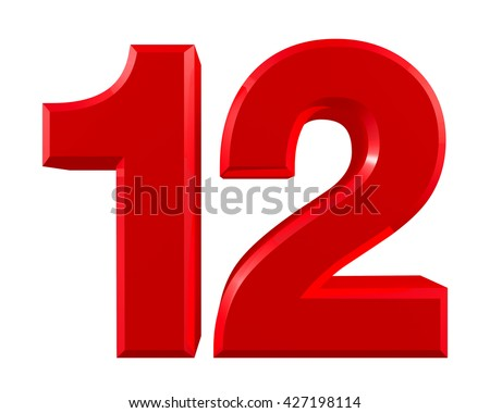 Red numbers 12 on white background illustration 3D rendering - stock photo