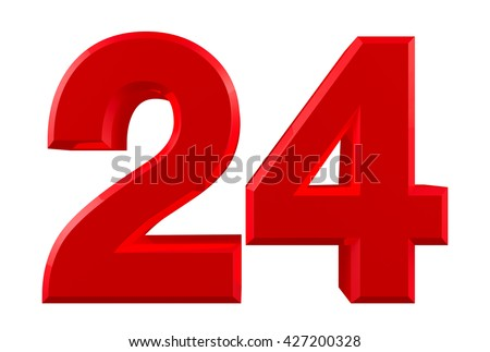 Red numbers 24 on white background illustration 3D rendering - stock photo