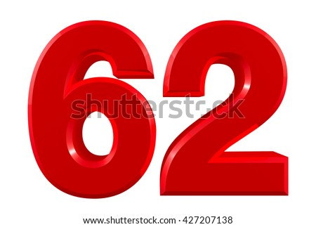 Red numbers 62 on white background illustration 3D rendering - stock photo