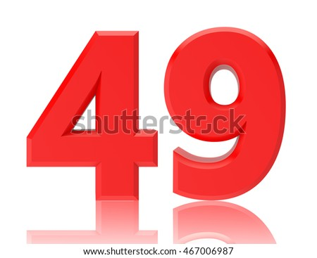 Red numbers 49 on white background illustration 3D rendering