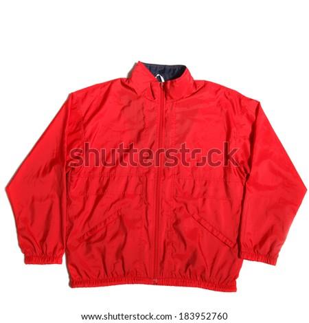 red nylon waterproof wind-stopper jacket on white background - stock photo