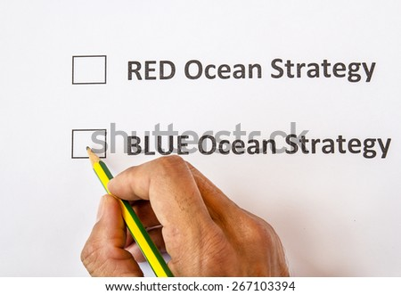Red ocean strategy and blue ocean strategy check boxes - stock photo