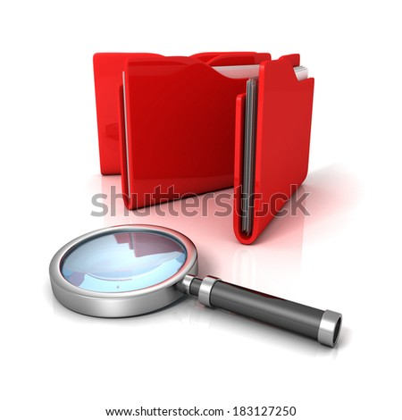 red office document paper folders with magnifier glass. Searching files concept 3d render illustration - stock photo