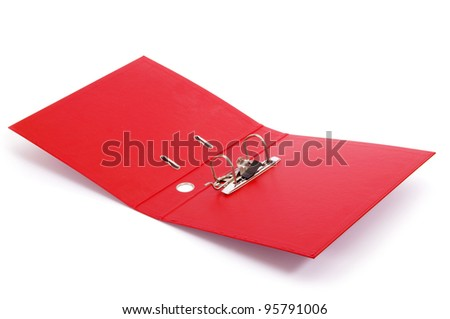 Red office folder with paper - stock photo