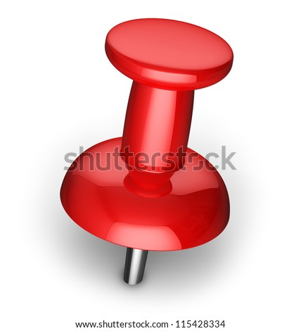 Red office pushpin or thumbtack for business paperwork isolated on white background - stock photo