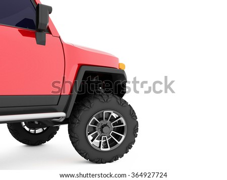 Red offroad car, big SUV car wheel stands on white background. - stock photo
