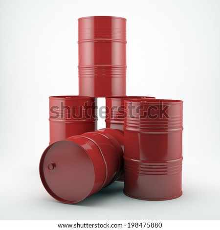 Red oil barrels isolated on white background.High resolution  - stock photo