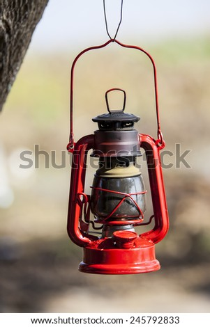 Red oil lamp.