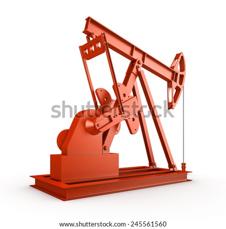 Red oil rig on isolated white background  - stock photo
