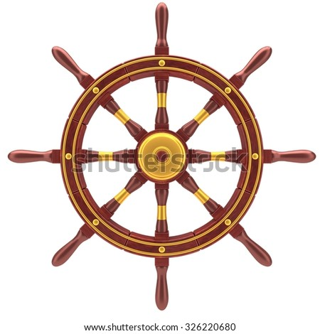 Red old boat steering wheel isolated on the white background - stock photo