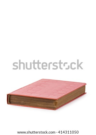 Red Old Book, side view, isolated on white background, clipping path