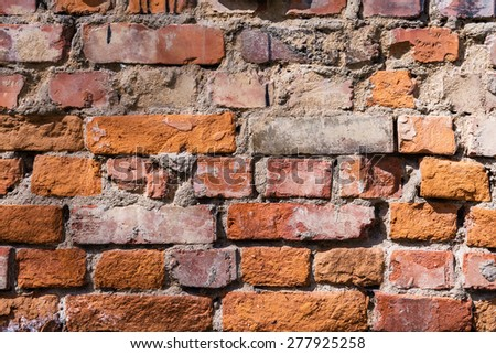 Red old brick wall grunge background - stock photo