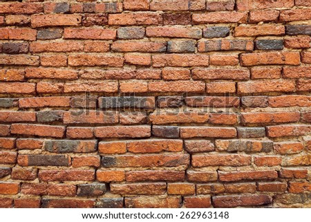 red old brick wall texture background - stock photo