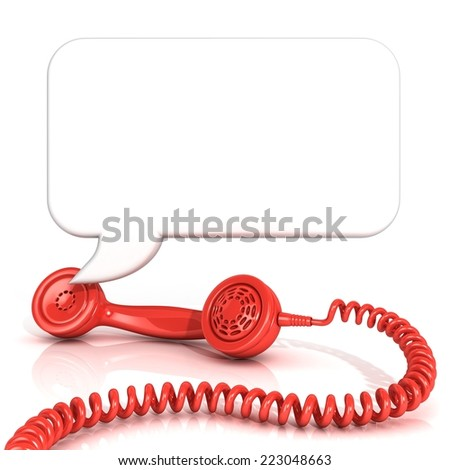 Red old fashion telephone handsets and speech bubble. Isolated on white background